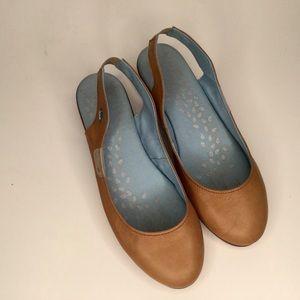 Cloud leather slip-on sandals. Super comfortable.